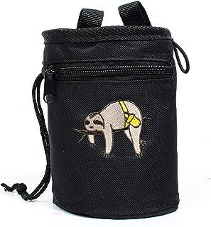 Craggy's 儿童及成人粉笔包,带抽绳封口,拉链口袋,可调节快速扣腰带和刺绣树懒设计