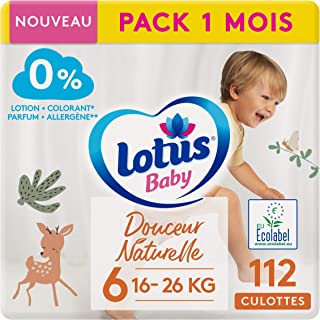 Lotus Baby Douceur Naturelle – 内裤尺码 6(16 – 26 千克) 1 个月 – 112 个三角裤