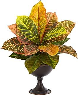 Nearly Natural 14 英寸(约 35.6 厘米)花园鳄鱼仿真植物金属巧克力(真实触感),橙色