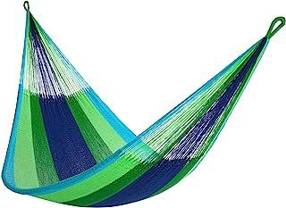 """黄色叶吊床 - """"Lanta"""" 吊床,家庭尺寸吊床,适合 1-2 人以上(500 磅),蓝色和*,手工编织,可共享,防风雨吊床"""