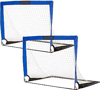 EliteGo 便携式足球门   即时弹出式网   玻璃纤维杆,2 件套