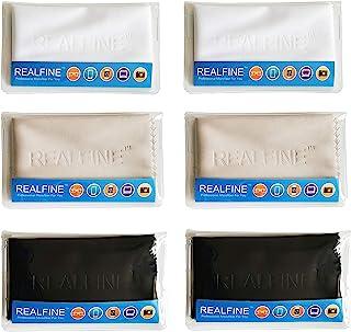 眼镜清洁布带单独可重复使用袋,可*用于所有眼镜、电子屏幕和相机镜头,无划痕 REALFINE 超细纤维镜头清洁布(6 件装)