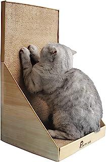 "Pawmosa 猫抓手,垂直纸板猫抓板,休闲床作为家具保护,家居装饰 包括免费 Catnip 蜂蜜色 12.6"" x 12"" x 21.7"""