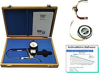 Harpenden Skinfold Caliper Pro 工具套件,具有AnthroMetrix软件,包含Lufkin W606PM卷尺,木箱和使用手册,其中带有用于测量体脂百分比的图表-0.2毫米精度