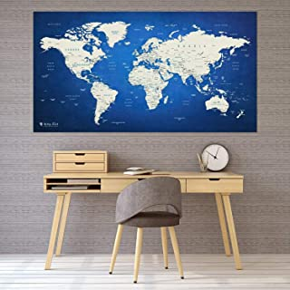 Itchy Feet 世界地图 XXL 51 x 28 英寸(约 129.5 x 71.1 厘米),带羊毛表面的旅行图钉板,含 20 个国旗推销