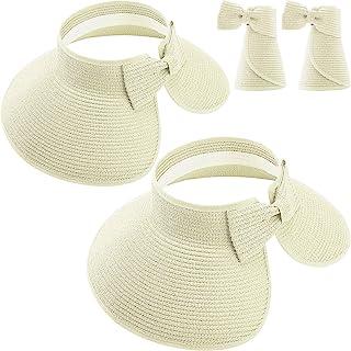 2 件可折叠吸管帽宽帽檐草帽,带蝴蝶结