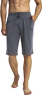 N-A 男式瑜伽短裤棉质跑步运动吸汗宽松长短裤带口袋,适合室内家庭健身房锻炼
