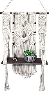 CLYPCO 流苏植物挂钩 – 流苏壁挂架 – 波西米亚壁挂架 – 藤制架 – 优质室内植物壁架 – 现代风格 – 可爱复古设计 – 轻松 DIY 安装