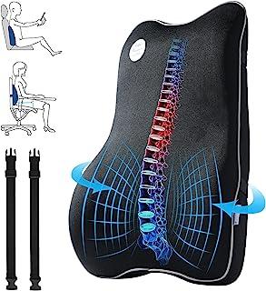 Powsure 办公椅背部支撑,*泡沫腰椎支撑枕,带 3D 网眼套,大型透气人体工程学低*缓解*背部垫,适用于汽车座椅、轮椅、躺椅