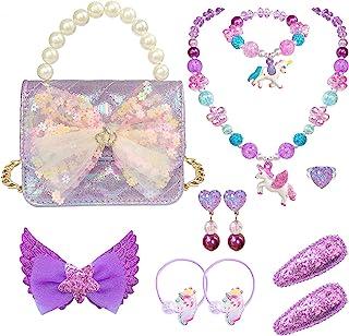 ELEMIRSA 女孩手提包小女孩儿童装扮游戏装扮项链发饰珠宝套装,浅紫色