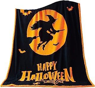万圣节毯子 - 152.4 厘米 x 203.2 厘米黑色和焦橙色 - 柔软羊羔绒投掷 - 女巫万圣节家居装饰