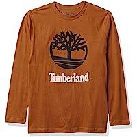 Timberland 男童长袖树形徽标图案 T 恤