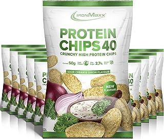 IronMaxx 蛋白片 40 - Sour Cream & Onion 口味 - 10 包 / 10 x 50 克 - 高蛋白,低碳,无麸质,低脂,低糖 - 每袋 20 克蛋白 - 德国制造