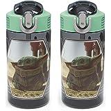 Zak Designs Grogu 儿童耐用塑料喷口盖,内置便携环,防漏水设计,适合旅行,16 盎司(约473.12 毫…