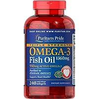 Puritan's Pride 普丽普莱 三重强度Omega-3鱼油1360毫克(950毫克活性Omega-3)软胶囊…