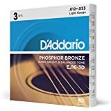 D'Addario EJ15 磷青铜原声吉他弦EJ16-3D 3 件装 Light, 12-53