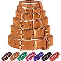 BronzeDog 皮革狗项圈,正品和耐用黄铜搭扣舒适宠物项圈,可调节小狗的小型中大型犬,粉红黑褐色,紫色绿色 浅棕色…