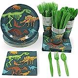 一次性餐具套装 – 恐龙主题派对用品,适合孩子生日、恐龙设计,包括塑料刀、勺子、叉子、纸盘、餐巾纸杯、杯子 Dino F…