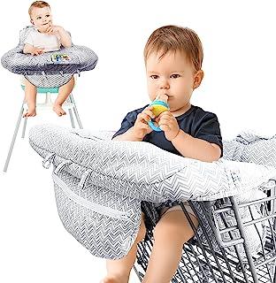 AGUDAN 购物车罩 婴儿可折叠便携式座椅高脚椅套 带包适合婴儿到幼儿,可机洗(灰色)