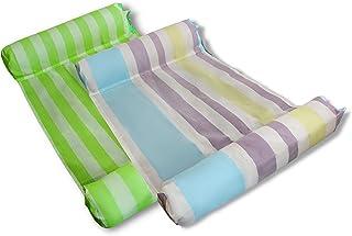 MERMAO 2 件装泳池水吊床休息室 52x27.5 成人漂浮,儿童坚固耐穿刺 PVC。包括充气泵。适合河流、湖泊、海滩(*/彩色)