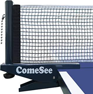 Comesee 专业乒乓球网夹 简易 乒乓球网和杆套装 带弹簧激活夹 加厚底夹 精确张力高度调整(*蓝)