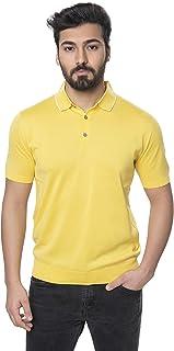 AlphaUomo 男式短袖 3 粒扣 Polo 衫黄色