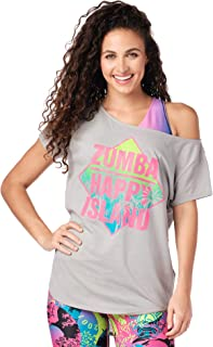 Zumba 宽松健身舞蹈健身图形 T 恤运动健身上衣女式  Thunderin' Gray Large