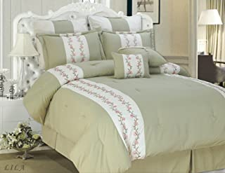 Cathay Home 床上用品 8 件套丝滑柔软超细纤维 Julianne 刺绣套装 黑色/奶油色 Queen PS0002E-8-Q-SC
