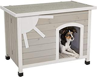 MidWest Homes for Pets Eillo 折叠户外木屋,无需组装工具 | 狗屋适合小型犬种,米色(12EWDH-S)