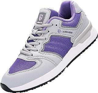 LARNMERN 钢头鞋女式防滑防油*工作轻便透气工作运动鞋