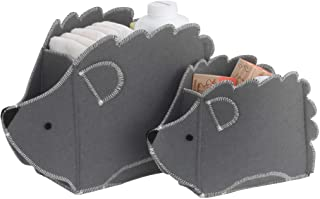 NoJo 灰色毛毡刺猬形状2件套育儿储物盒套装,灰色,白色