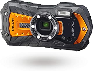 RICOH WG-70 橙色防水数码相机 16MP 高分辨率图像 防水 14m 耐冲击 1.6m 水下摄影 6-LED环灯 数字显微镜模式坚固机身设计 适用于工作场合