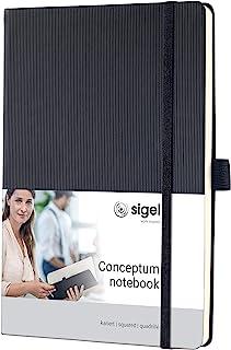 Sigel conceptum系列 黑色绑带硬封面竖纹硬封面商务笔记本A5方格内页