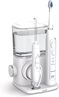Waterpik Complete Care System 9.0 配有组合式电动牙刷和口腔冲洗器、5个配件、10种压力设置、紧凑设计、白色(CC-01)。