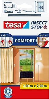 tesa 德莎 Insect Stop COMFORT 门用纱窗 - 防虫门 带尼龙搭扣 -无需钻孔,煤灰色(2 x 65 厘米)120 厘米 x 220 厘米