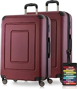 Happy Trolley Lugano 硬壳箱箱子 手推车 4 卷,TSA (S,M和L)+ 设计行李箱吊牌 Burgund Koffer-Set (2xM)