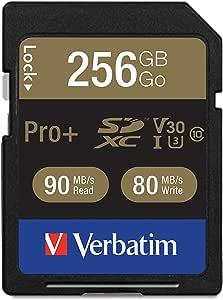 Verbatim 256 GB ProPlus 600X SDXC Memory Card, UHS-1 U3 Class 10 (99141)