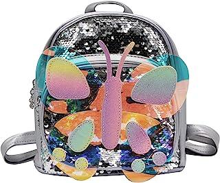 mosstyus 儿童背包,可爱蝴蝶亮片女孩背包,青少年迷你背包钱包,可调节肩带 银色 均码