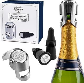 香槟瓶塞,用于闪亮瓶密封 - 4 件保存配件,适用于葡萄酒纳帕摩特瓶 - 锥形酒塞和双面不锈钢盖瓶套装 - 理想的礼物