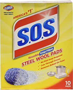 S.O.S Steel Wool Soap Pads 10 Count (Pack of 6)