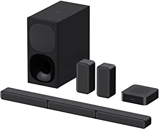 Sony 索尼 HT-S40R - 5.1 声道音响条(包括有线低音炮,无线后置扬声器,蓝牙,环绕声,杜比数字),黑色