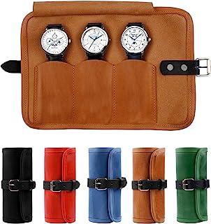 Karasto 皮革手表卷旅行收纳包*多可容纳 3 个手表盒手工手表存储男女适用(烟草)