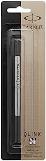 Parker Quink Permanent Ink Refill Cartridge for Rollerball Pens, Medium Point, Black (3021531)