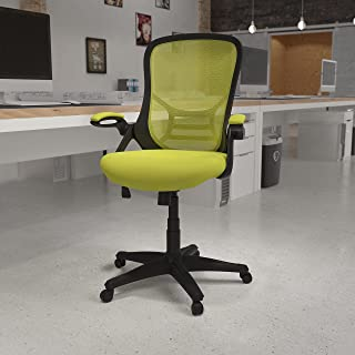 Flash Furniture HL-0016-1-BK-GN-GG 高背*网眼符合人体工程学的旋转办公椅,带黑色框架和翻转扶手 66.5 厘米宽 x 66.5 厘米深 x 102.2 厘米 - 111.4 厘米高