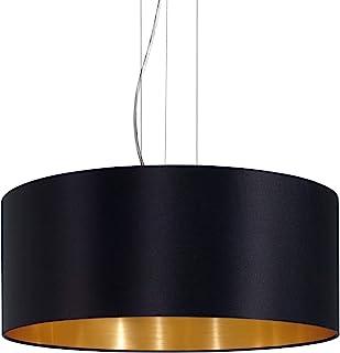 EGLO 吊灯 Maserlo 3 盏 灯泡 纺织吊灯,钢和织物的吊灯,颜色:镍哑光,黑色,金色,灯座:E27,直径:53 厘米