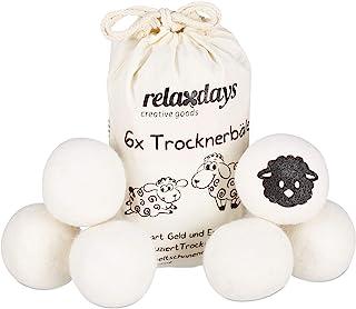 Relaxdays,白色烘干球 XXL,6个干球,烘干机毛毡球,由羊毛制成,环保,直径7厘米