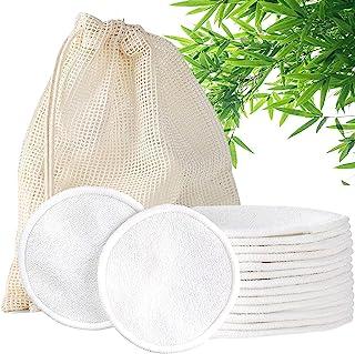 可重复使用的卸妆垫,14 件装环保棉圆圈,带可洗洗衣袋,可重复使用的棉垫,适合所有肤质,*竹棉垫面和面部用