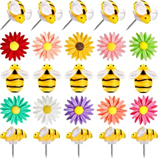 40 件花朵图钉 蜜蜂 拇指钉 可爱装饰推销 创意拇指钉 儿童用白板、软木板、照片墙、公告板、办公室或家居装饰