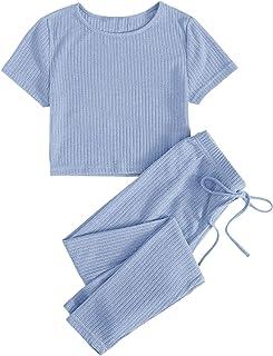 SweatyRocks 女式休闲 2 件套罗纹针织露脐上衣高腰打底裤套装