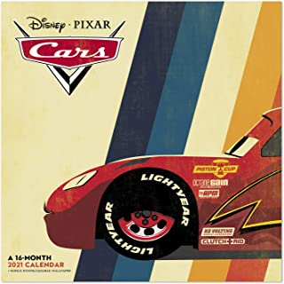 "2021 Disney 皮克斯汽车挂历,12"" x 12"",每月(DDW16328)"